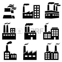 industrie symbol: Industriegebäude, Betriebs-und Kraftwerke icon set Illustration