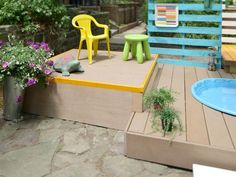 Build a Multilevel Deck For a Kiddie Pool : Home Improvement : DIY Network Cool Deck, Diy Deck, Diy Outdoor Furniture, Outdoor Decor, Outdoor Spaces, Tiered Deck, Deck Steps, Laying Decking, Custom Decks