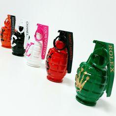 Brand new #designer #grenades. Please email me for more info or to commission your own (#business logos, initials etc.) : ART@LMKART.com // #art #popart #interiordesign #interior #design #beverlyhills #california #laart #lmkart