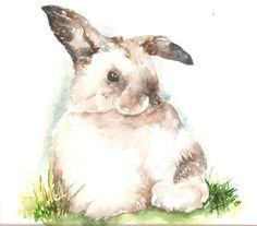 Original Watercolor Bunny by AmyWoodsWatercolors on Etsy, $85.00 #bunnypainting #bunny #rabbit #rabbitart #art #watercolor #rabbitpainting #painting #bunnyrabbit