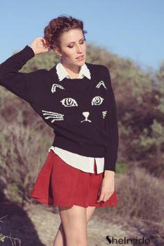 #SheInside Black Embroidered Cat Round Neck Loose Sweater - Sheinside.com