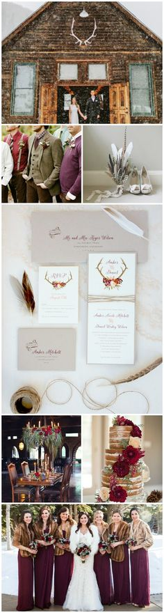 rocky mountain wedding inspiration - so pretty for a winter wedding! Love the pretty jewel tones, antler, feather and winter looks together.