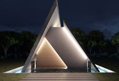 Trinity Church, architecture design of a church located in Matn Lebanon, Triangle shape church surrounded with water Triangular Architecture, Architecture Mapping, Studios Architecture, Church Architecture, Unique Architecture, Architecture Portfolio, Concept Architecture, Futuristic Architecture, Interior Architecture