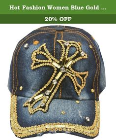 Hot Fashion Women Blue Gold Denim Gem Studded Cross Applique Sun Hat Cap. This denim stone adorned cap sun hat from Hot Fashion is great for casual wear. The cap features cross applique with gold gems and rhinestones attached and studded brim. Shimmery accents add a feminine touch to this sporty piece.