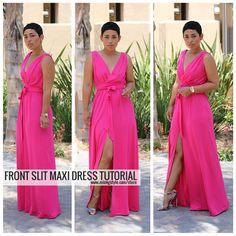Front slit maxi dress tutorial from Mimi G