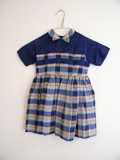 Vintage 1950s Girls Dress / Blue Plaid / Size 4