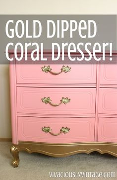 coral yes. gold dip no. Coral Gold Dipped French Provincial Dresser - I breathed some new life into this vintage dresser! The coral against the original brass hardware with gold dipped… Dipped Furniture, Rustic Furniture, Painted Furniture, Diy Furniture, Coral Furniture, Recycling Furniture, Furniture Movers, Antique Furniture, French Dresser