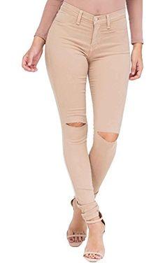 Vibrant Slit Knee High Waisted Solid Jeans Khaki Size 1 ❤ ...