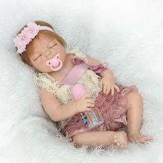 "96.44$  Watch now - http://alilu2.worldwells.pw/go.php?t=32781106048 - ""22"""" girl reborn baby dolls full body silicone vinyl dolls fashion children gift NPK brand dolls bebe alive reborn bonecas"" 96.44$"