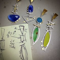 Elaine Rader jewelry sketches and WIP. In a mix-match mood.