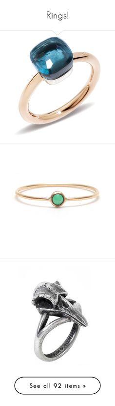 """Rings!"" by pharaoh-s ❤ liked on Polyvore featuring jewelry, rings, sparkly rings, rose jewelry, petite jewelry, london blue topaz ring, pomellato jewelry, emerald jewelry, green stone rings and spike ring"
