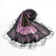 http://www.artfire.com/ext/shop/studio/bohemiantouch/1/1/10311//  Funky Little Pink Black Floral Print Square Shawl with tassel fringe trimmed edges Soft Touch Women Shawl Scarf, scarf is a great addition to your collection of fashion accessories. Perfect for all year round.
