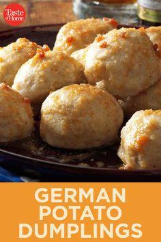 German Potato Dumplings - - Potato dumplings (called Kartoffel Kloesse in Germany) are a delightful addition to any German feast. The browned butter sauce is delectable. Easy German Recipes, Austrian Recipes, Beef Bourguignon, Dumpling Recipe, Potatoe Dumplings, German Potatoes, Oktoberfest Food, International Recipes, Food Dishes