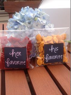 His & Her favorite snacks for wedding favors... so cute!! || Bella Collina Weddings
