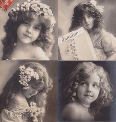 アンティークポストカード<美少女・ヴィエノワーズ・きのこ・赤ずきん> : BLEU CURACAO FRANCE
