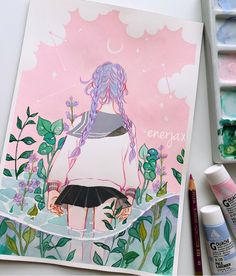 I'm Okay original gouache painting Anime Kunst, Anime Art, Gouache Illustrations, Minimalist Bullet Journal, Watercolor Paintings, Original Paintings, Posca Art, Arte Sketchbook, Artsy Photos