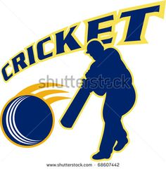 vector illustration of a cricket sports batsman silhouette batting - stock vector Cricket World Cup, Live Cricket, Watch Live Tv Online, All Over The World, Retro Illustration, Silhouette, Sports, Free, Hs Sports