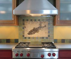 Backsplashes - Fossil Art by Green River Stone Company fossil murals fossil tile Fossil Backsplashes