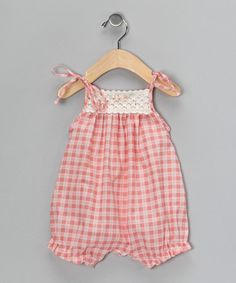 Take a look at this Peach Gingham Crocheted Bubble Romper - Infant by Victoria Kids on #zulily today!