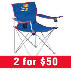 Kansas (KU) Jayhawks deluxe folding chairs are now 2 for $50! Shop now: http://www.rallyhouse.com/shop/kansas-jayhawks-kansas-jayhawks-deluxe-chair-14130146