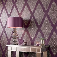 Julien Macdonald Damson Jewel Wallpaper | Debenhams