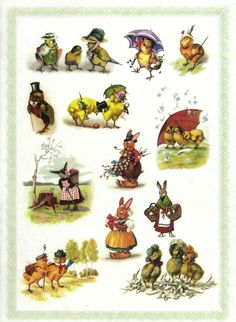 Ricepaper/Decoupage paper, Scrapbooking Sheets Vintage Easter Chicks in Hats
