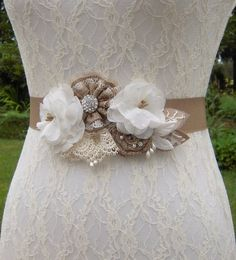 Ivory Rustic Wedding Dress Sash Belt with Off White Flowers, Ivory Lace and Tan/Beige Burlap-Look Fl Wedding Dress Sash, Rustic Wedding Dresses, Rustic Flowers, White Flowers, Country Garden Weddings, Satin Sash, Barn Weddings, Sash Belts, Floral Arrangements