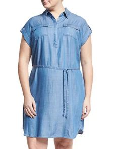 46934838fd595 TS5WM Vince Camuto Plus Short-Sleeve Tencel Chambray Shirtdress