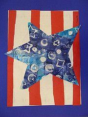 Kindergarten: Object Printing turned into Patriotic Art Kindergarten Art, Preschool Art, Special Needs Art, First Grade Art, Flag Art, Art Classroom, Classroom Resources, Art Lessons Elementary, Art Lesson Plans
