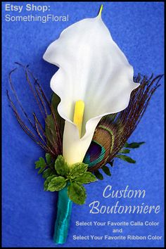 Calla Lily and Peacock Feather Boutonniere - Choice of Colors - Wedding, Vow Renewal, Prom, Homecoming, Bar Mitzvah, Cotillion, etc. $13.50