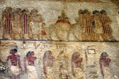 Tomb 2 (Khnumhotep II) 12th Dynasty (1991-1783 BCE) Amorite Nomads top , Egyptians below