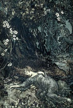 Part I of 'A midsummer night's dream' by William Shakespeare; with illustrations by Arthur Rackham. Published 1908 by Doubleday, Page Co