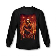 This Middle-earth t-shirt features Bard The Bowman surrounded by Smaug the dragon from the film The Hobbit:  The Battle of the Five Armies. This 100% cotton t-shirt is available in adult sizes.