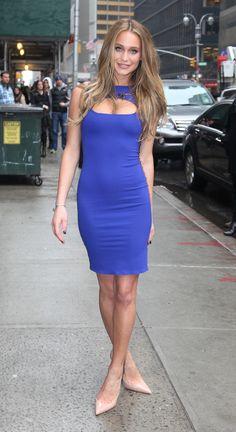 Hannah Davis wears Bluish-Purple Dress