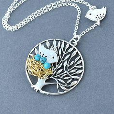 love bird family necklace robin egg nest birds necklace mama bird papa bird cute necklace woodland mother necklace by jewelmint. $22.00, via Etsy.