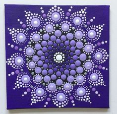 Acrylic Painting - Mandala Dotting Technique Purple - a unique product by Shivajyoti be . Dot Art Painting, Rock Painting Designs, Stone Painting, Mandala Drawing, Mandala Painting, Mini Tela, Mandala Rocks, Stone Mandala, Mandala Canvas