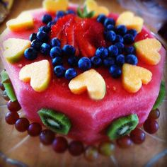 summer fruit and melon cake
