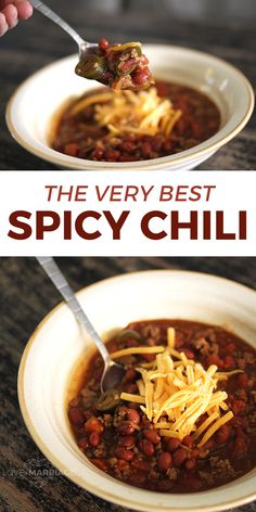 The Best Spicy Chili Recipe. The Best Spicy Chili Recipe ever! And it's so easy. We are total chili lovers in this house. In the fall and winter months it is something we make almost … The Best Spicy Chili Recipe, Spicy Crockpot Chili, Chili Recipe Stovetop, Beef Chili Recipe, Chilli Recipes, Crockpot Recipes, Cooking Recipes, Southern Spicy Chili Recipe, Thai Recipes