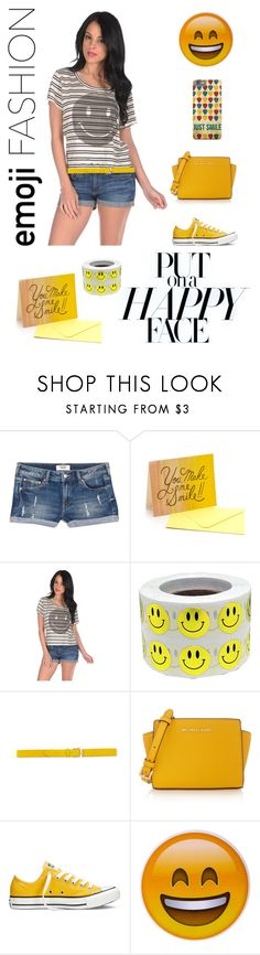 """Put on a Happy Face"" by couldbecassie ❤ liked on Polyvore featuring MANGO, Rifle Paper Co, Mighty Fine, MICHAEL Michael Kors, Converse and Hot Topic"