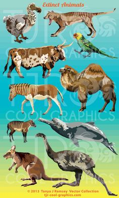 Extinct Animals Collection  Vector Clip Art by CleverVectors, $3.95