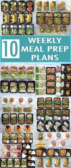 Ten weekly meal prep plans for a healthy new year! I rounded up my 10 most popular meal prep posts from 2017. Each one includes a meal plan, recipes, nutrition info, snack ideas, and container recommendations! #DietMealPlans