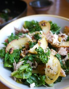 Kale and Apple Salad with Chicken, Feta, and Toasted Walnuts - it's like fall in a bowl!