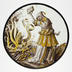 Roundel with Allegorical Scene of Book Burning (circa 1520–30). Colourless glass, vitreous paint and silver stain ( North Netherlandish). Image and text courtesy The Met.