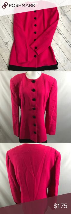 Christian Dior hot pink and black wool jacket Christian Dior hot pink and black wool jacket. Lined. In excellent condition. Size 12. Length 31, bust 19, waist 19. 100 percent wool. Thanks for looking. Happy Poshing! Christian Dior Jackets & Coats Blazers