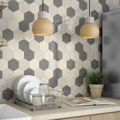 Use different colour tiles to create pattern walls and splashbacks.