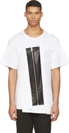 Facetasm White Leather Placket Rider T-Shirt