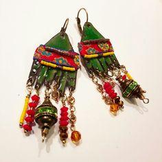 Boucles d'oreilles - émaux - style bohème ethnique chic *Un souffle bohème* : Boucles d'oreille par echappee-perles