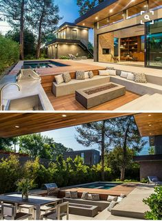 15 Outdoor Conversation Pits Built For Entertaining // This sunken conversation pit tucked right into the deck has a fire pit, BBQ, and kitchen area, allowing entertaining and cooking to take place in the same spot. Fire Pit Seating, Outdoor Seating Areas, Deck Seating, Backyard Seating, Garden Seating, Outdoor Spaces, Outdoor Fire, Outdoor Living, Outdoor Lounge