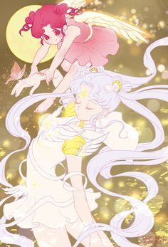 sailor-moon-arts: Cosmos and chibichibiNspring Arte Sailor Moon, Sailor Moon Fan Art, Sailor Moon Character, Sailor Moon Usagi, Sailor Pluto, Sailor Mars, Sailor Moon Crystal, Cosmos, Sailor Moon Personajes
