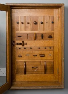 Cotswold school -  cabinet of specimen drawer pulls | From a unique collection of antique and modern cabinets at https://www.1stdibs.com/furniture/storage-case-pieces/cabinets/